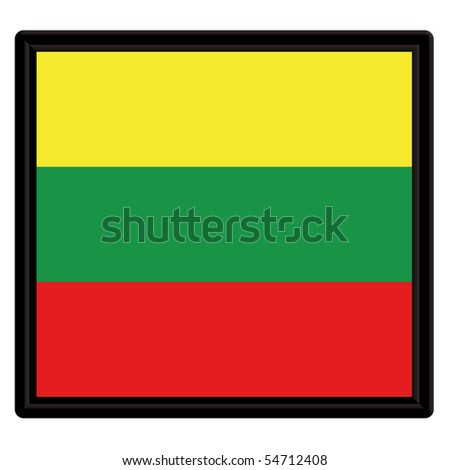 Flag of Lithuania with black frame - stock vector