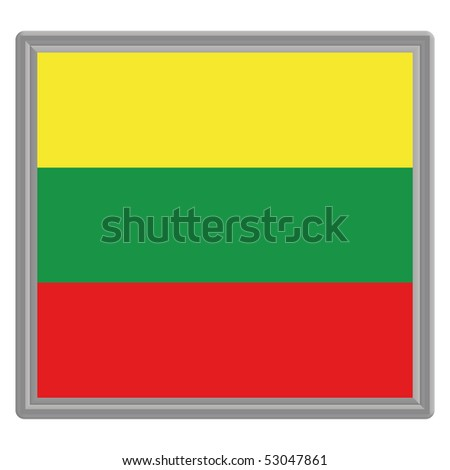 Flag of Lithuania with silver frame - stock vector