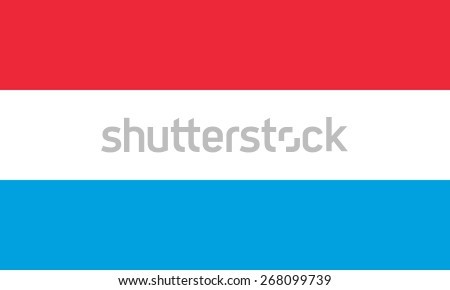 Flag of Luxembourg. Official state symbol of the Grand Duchy of Luxembourg. Vector illustration. Correct proportions and colors. Horizontal stripes - red, white, blue.  - stock vector