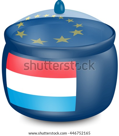 Flag of Luxembourg. Saucepan with a translucent cover. The symbol of the European Union. 3D illustration isolated on white background.