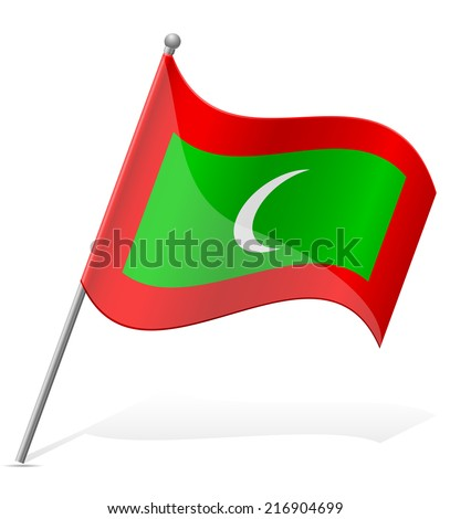 flag of Maldives vector illustration isolated on white background - stock vector