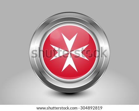 Flag of Malta. Metal Round Icons. This is File from the Collection European Flags - stock vector
