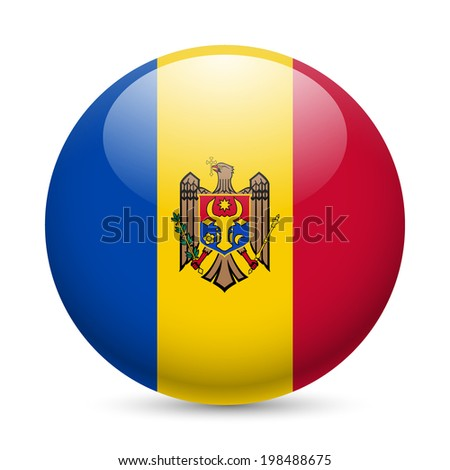 Flag of Moldova as round glossy icon. Button with Moldovan flag - stock vector