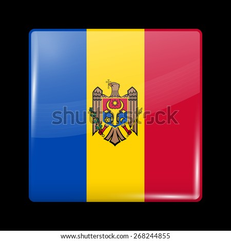 Flag of Moldova. Glossy Icons Square Shape. This is File from the Collection European Flags - stock vector