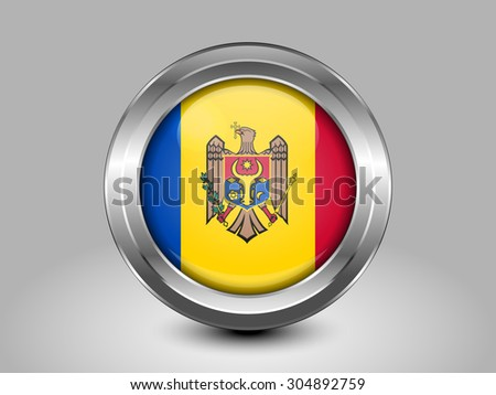 Flag of Moldova. Metal Round Icons. This is File from the Collection European Flags - stock vector