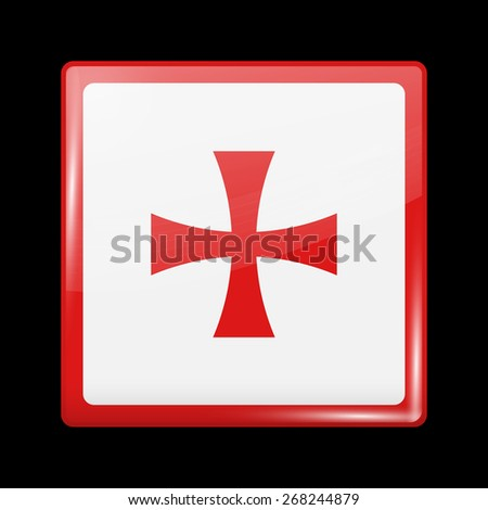 Flag of Montenegro. Metal Icons Square Shape. This is File from the Collection European Flags - stock vector