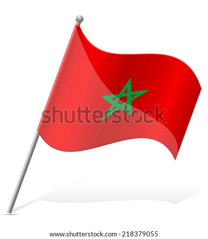 flag of Morocco vector illustration isolated on white background - stock vector
