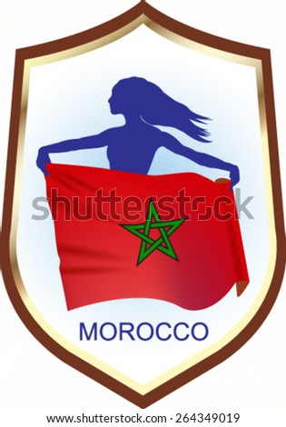 Flag of Morocco with blazon - vector illustration. - stock vector