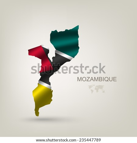 flag of Mozambique as a country with a shadow - stock vector