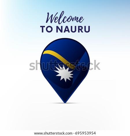 Flag Nauru Shape Map Pointer Marker Stock Vector - Nauru map vector