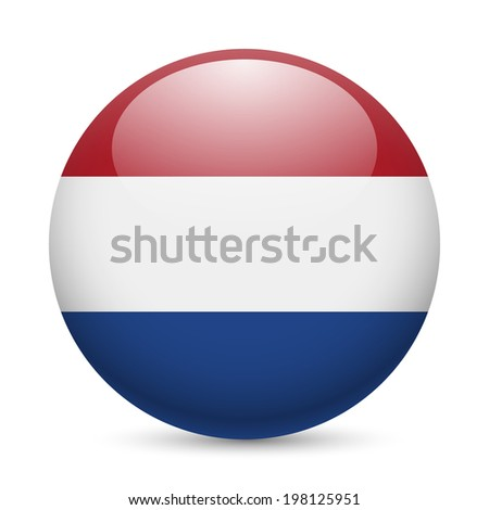 Flag of Netherlands as round glossy icon. Button with Dutch flag - stock vector