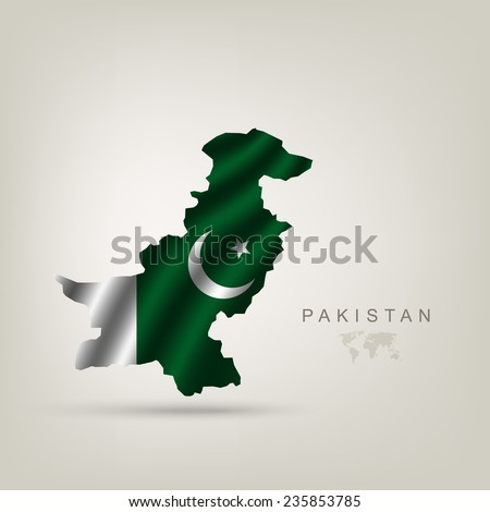 Flag of Pakistan as a country with a shadow - stock vector