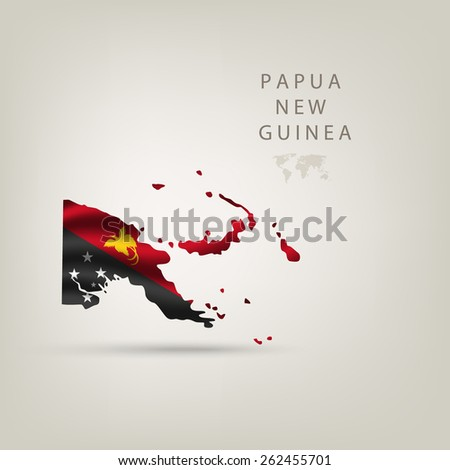 Flag of PAPUA NEW GUINEA as a country with shadow - stock vector