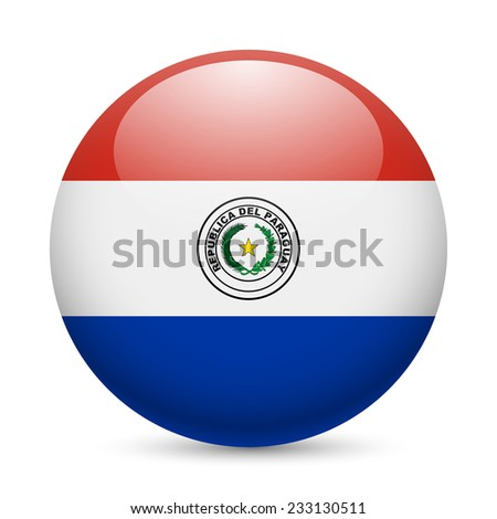Flag of Paraguay as round glossy icon. Button with Paraguayan flag - stock vector