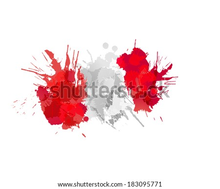 Flag of Peru made of colorful splashes - stock vector