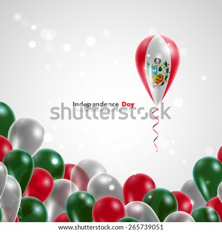 Flag of Peru on balloon. Celebration and gifts. Ribbon in the colors of the flag are twisted under the balloon. Independence Day. Balloons on the feast of the national day.  - stock vector