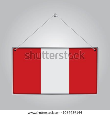 Flag Peru Symbol State Pennant Hanging Stock Vector 1069439144
