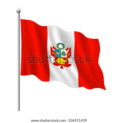 Flag of Peru, vector illustration - stock vector