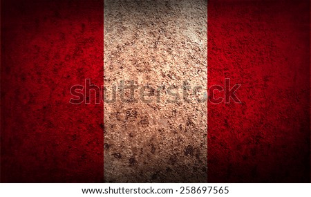 Flag of Peru with old texture. Vector illustration - stock vector