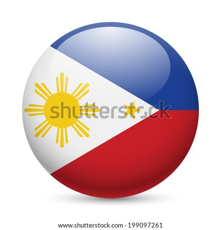 Flag of Philippines as round glossy icon. Button with Filipino flag - stock vector