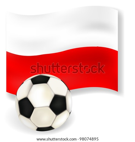 Flag of  Poland - country of 2012 football championship with soccerball on white background. Vector illustration - stock vector