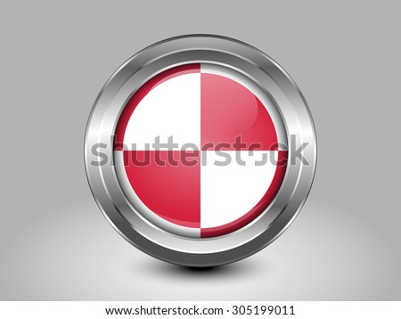 Flag of Poland. Metal Round Icons. This is File from the Collection European Flags - stock vector