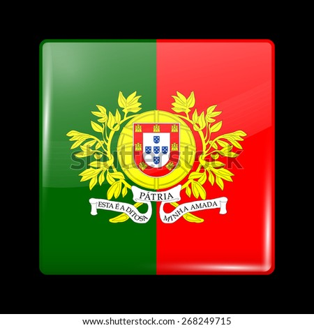 Flag of Portugal. Glossy Icons Square Shape. This is File from the Collection European Flags - stock vector