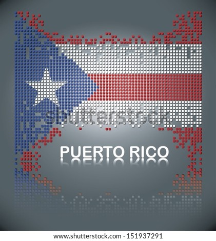 Flag of Puerto Rica from falling square blocks, vector
