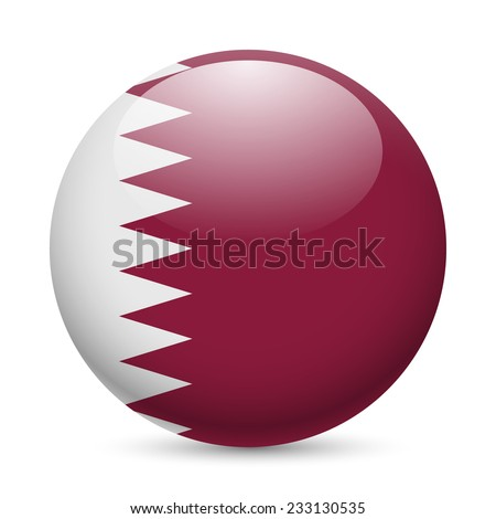 Flag of Qatar as round glossy icon. Button with Qatari flag - stock vector