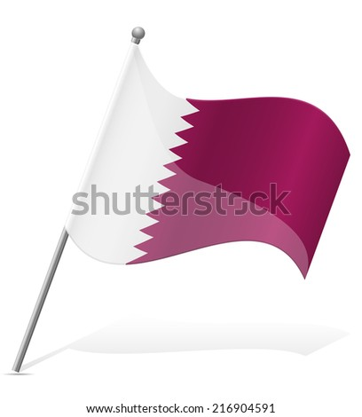 flag of Qatar vector illustration isolated on white background - stock vector
