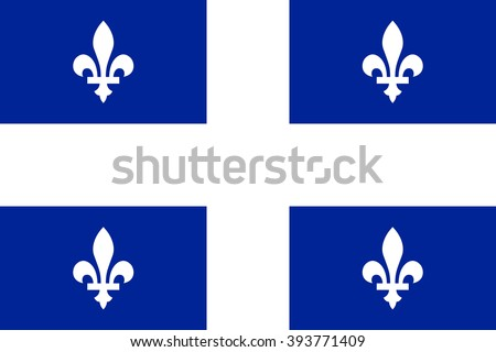Flag of Quebec Province or territory of Canada. Vector illustration.