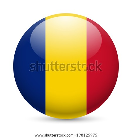 Flag of Romania as round glossy icon. Button with Romanian flag - stock vector