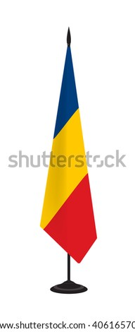 Flag of Romania on a flagstaff. Vector illustration - stock vector