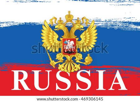Flag of Russia. Russian flag. Coat of Arms. Brush stroke background