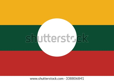 Flag of Shan Districts / Regions / States of Myanmar. Vector illustration. - stock vector