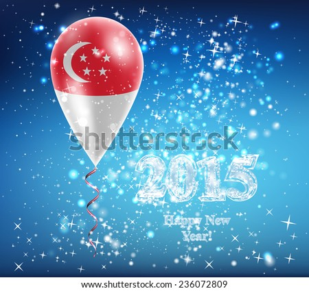 Flag of Singapore. Flag of the country in a balloon. The celebration and gifts. Balloon on Happy New Year. Merry Christmas. air balls, ball,  The sky sparkles with stars and snowflakes. Vector. Icon.  - stock vector