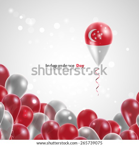 Flag of Singapore on balloon. Celebration and gifts. Ribbon in the colors of the flag are twisted under the balloon. Independence Day. Balloons on the feast of the national day.  - stock vector
