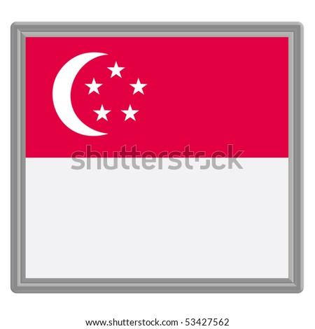 Flag of Singapore with silver frame - stock vector