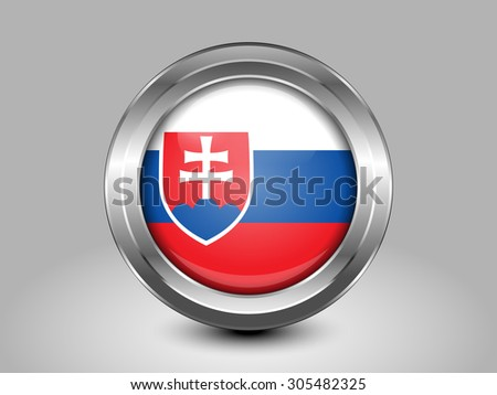 Flag of Slovakia. Metal Round Icons. This is File from the Collection European Flags - stock vector