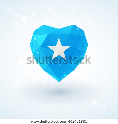 Flag of Somalia in shape of diamond glass heart in triangulation style for info graphics, greeting card, celebration of Independence Day, printed materials