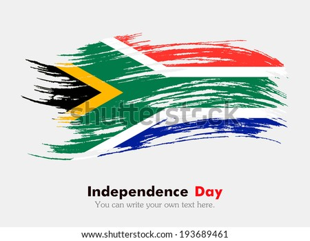Flag of South Africa. Flag in grungy style. Independence Day. - stock vector