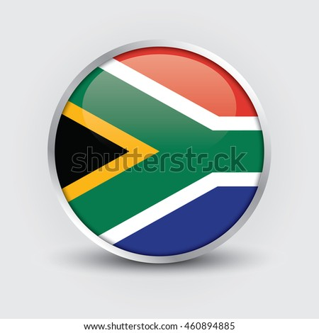 Flag of South Africa glossy button