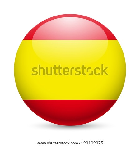 Flag of Spain as round glossy icon. Button with Spanish flag - stock vector