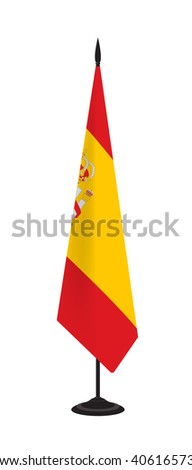 Flag of Spain on a flagstaff. Vector illustration - stock vector