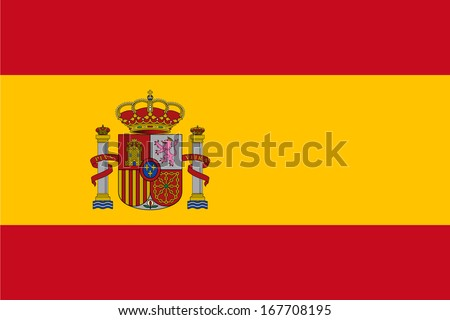 Flag of Spain with Coat of Arms. Vector.  Accurate dimensions, elements proportions and colors.  - stock vector