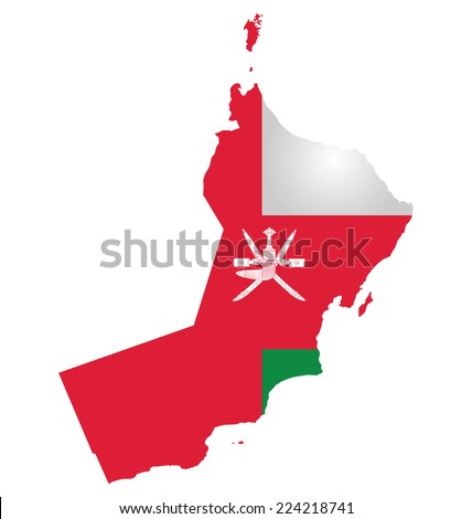 Flag of Sultanate of Oman overlaid on outline map isolated on white background  - stock vector