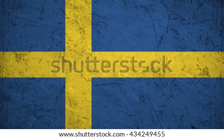 Flag of Sweden overlaid with grunge texture. - stock vector