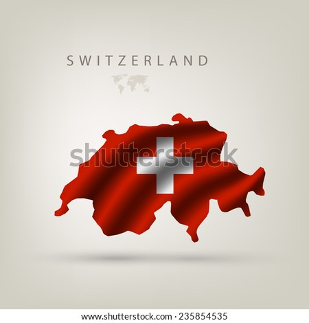 Flag of Switzerland as a country with a shadow - stock vector