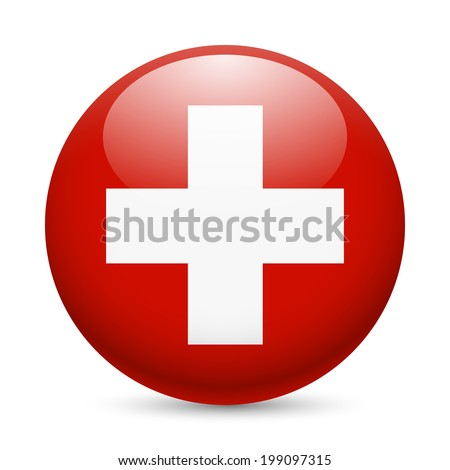 Flag of Switzerland as round glossy icon. Button with Swiss flag - stock vector