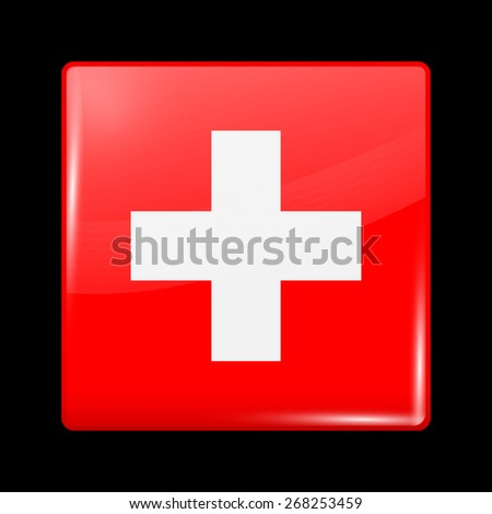 Flag of Switzerland. Glossy Icons Square Shape. This is File from the Collection European Flags - stock vector